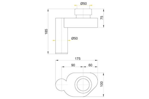 Cифон для писсуара Alca Plast А45В, горизонтальный