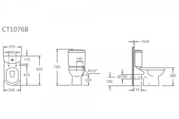 Унитаз-компакт Alcora Rio CT1076B, с сиденьем полипропилен, микролифт