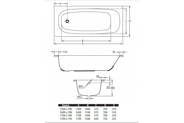 СтальнаяваннаBLB Universal HG B50HAH001, 150х70