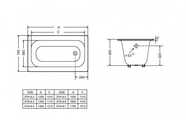 Чугунная ваннаGoldman Classic, 160х70х40