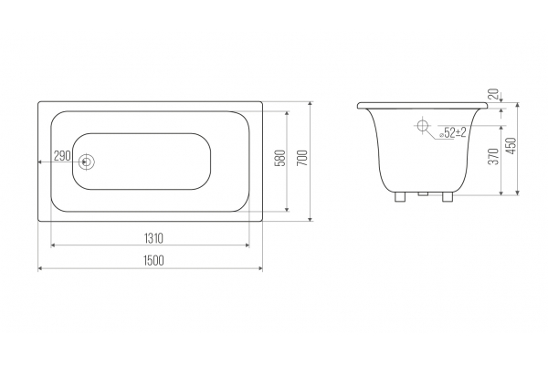 Чугунная ванна Goldman Real, 150х70х45